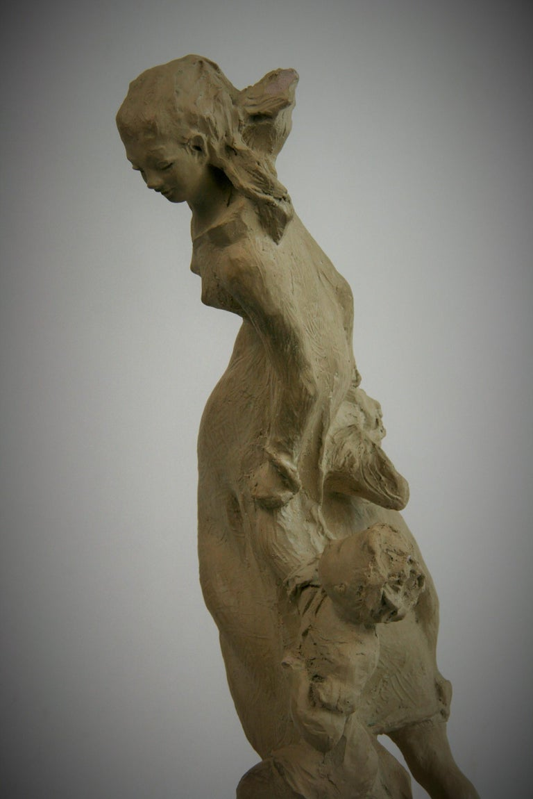 Mother with Children Cast Stone Sculpture For Sale 4
