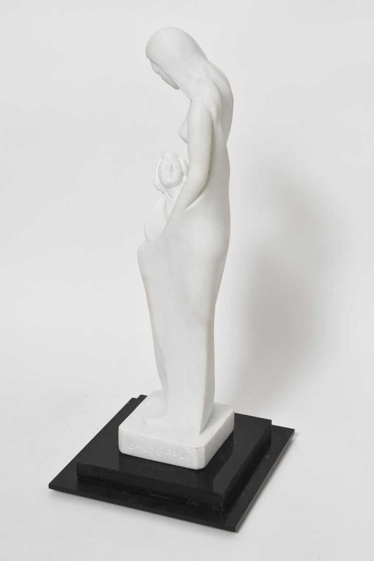 American Motherhood Marble Sculpture by Enzo Gallo of Mother Embracing Child For Sale