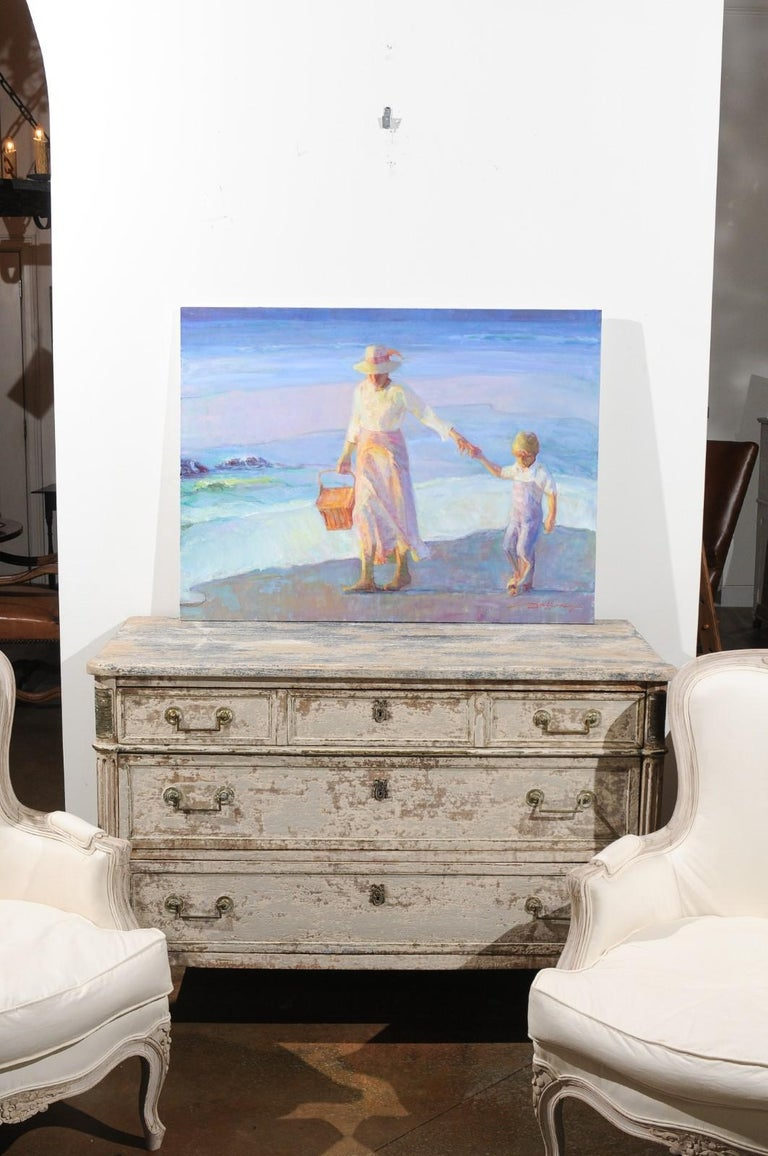 Mother's Joy by Don Hatfield, Original Contemporary American Beach Painting In Excellent Condition For Sale In Atlanta, GA