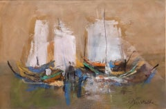 Israeli Modernist Abstract Expressionist Gouache Painting Boats
