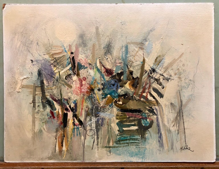 Israeli Modernist Abstract Expressionist Oil Painting  For Sale 4