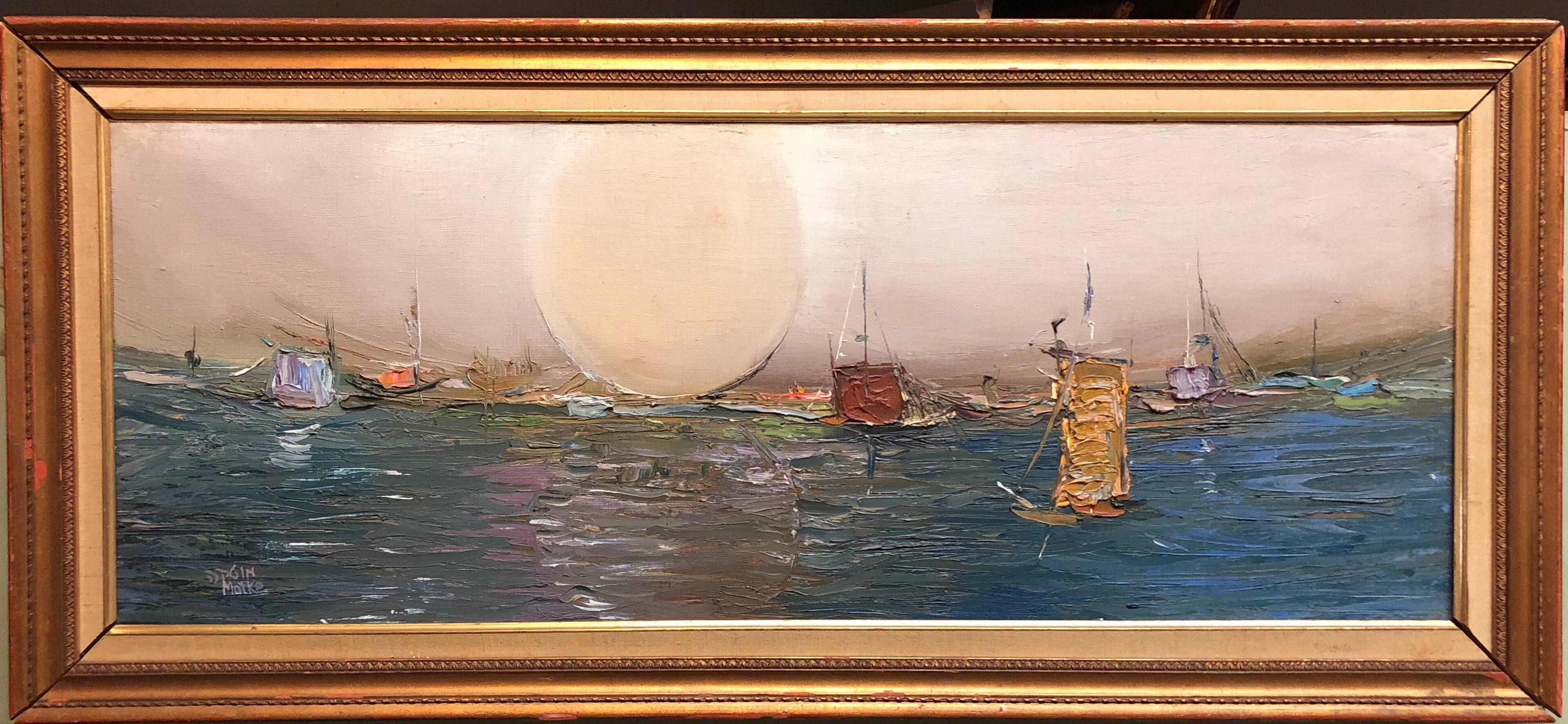 Israeli Modernist Abstract Expressionist Seascape Oil Painting Tel Aviv Harbor