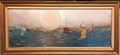 Israeli Modernist Abstract Expressionist Seascape Oil Painting Tel Aviv Harbor