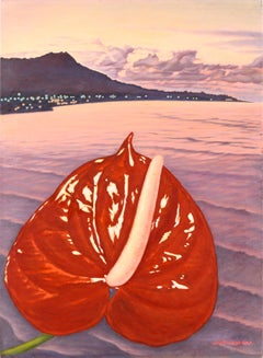 Cook Islands Tropical Sunset Landscape with Red Anthurium Flower