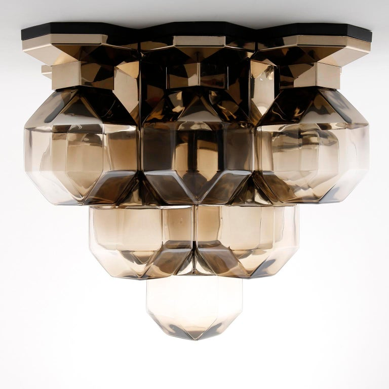 Mid-Century Modern Motoko Ishii Flush Mount Light Fixture, Brass Glass, Staff, Germany, 1970s For Sale