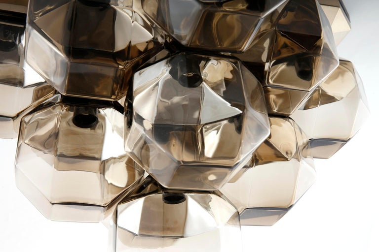 Late 20th Century Motoko Ishii Flush Mount Light Fixture, Brass Glass, Staff, Germany, 1970s For Sale