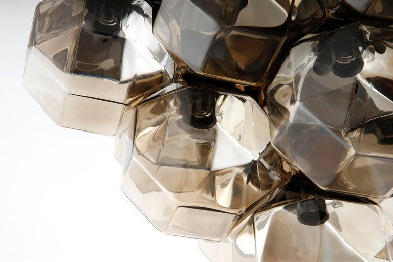 Motoko Ishii Flush Mount Light Fixture, Brass Glass, Staff, Germany, 1970s For Sale 1