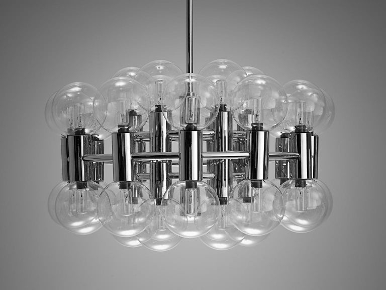 Motoko Ishii for Staff Chandelier Glass and Chrome For Sale 2