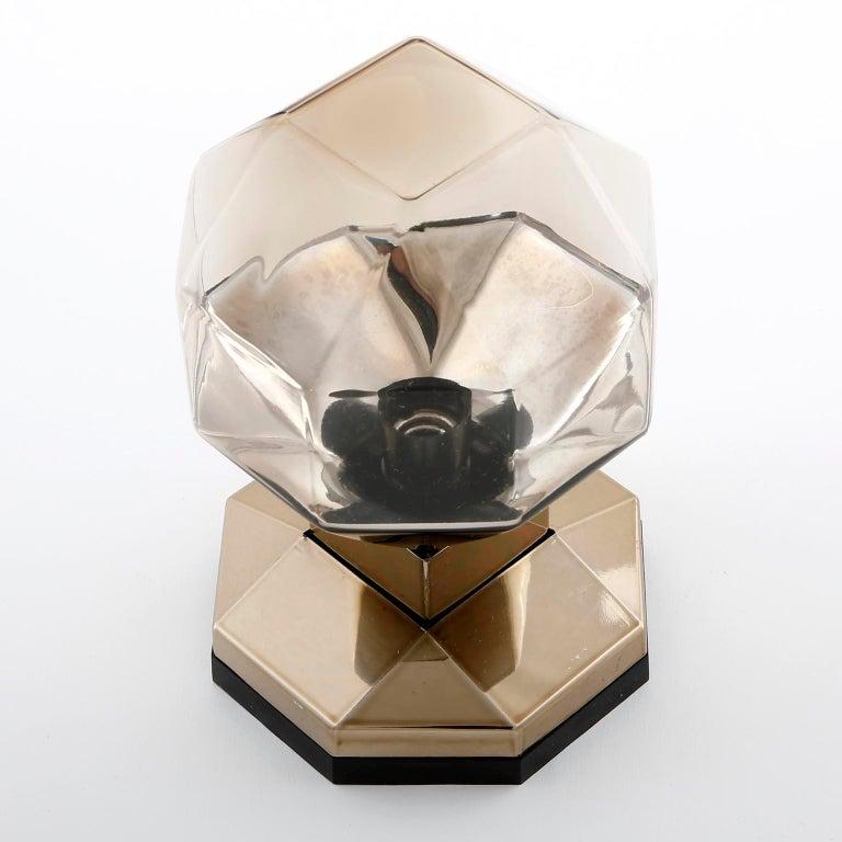 Motoko Ishii Sconces Wall Lights, Brass Glass, Staff, Germany, 1970s For Sale 1