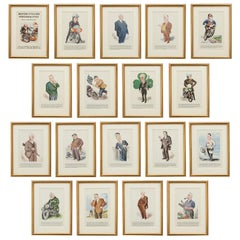 Motor, Cycling Personalities Past and Present Framed Set of Pictures by Sallon