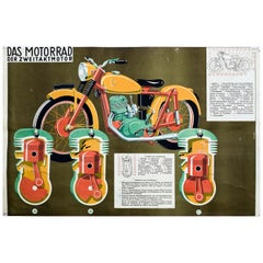 Motorcycle and Two-Stroke Engine, Vintage Wall Chart
