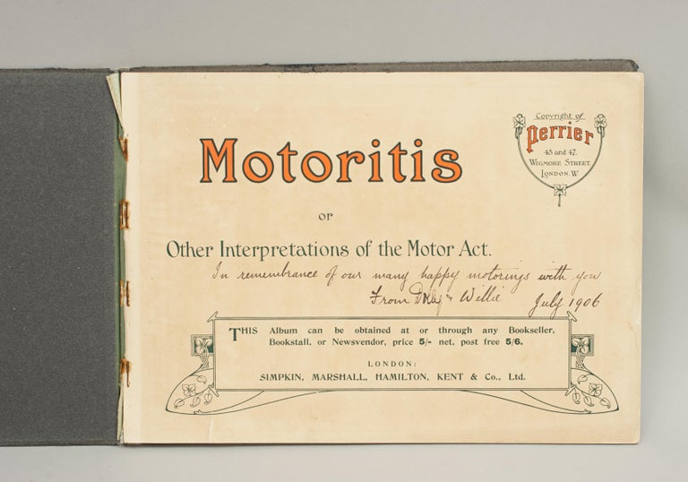 Motoritis book illustrated by Charles Crombie. A rare motoring book 'Motoritis or Other Interpretations of the Motor Act' illustrated by Charles Crombie and published for Perrier. The book is with 12 colored humorous plates with accompanying text,
