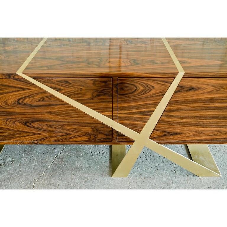 American Mott Long Sideboard, Custom Rosewood and Brass, Storage by Dean and Dahl For Sale