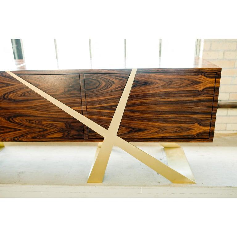 Veneer Mott Long Sideboard, Custom Rosewood and Brass, Storage by Dean and Dahl For Sale