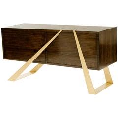 Mott Sideboard in Walnut and Gold Leaf, Custom Storage, by Dean and Dahl
