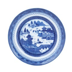 Mottahedeh Blue Canton Porcelain Plate with Blue and White Chinese Landscape