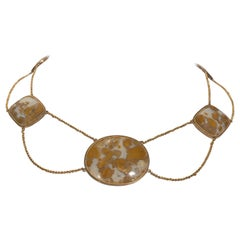 Mottled Agate Quartz and Gold Swag Festoon Necklace Estate Fine Jewelry