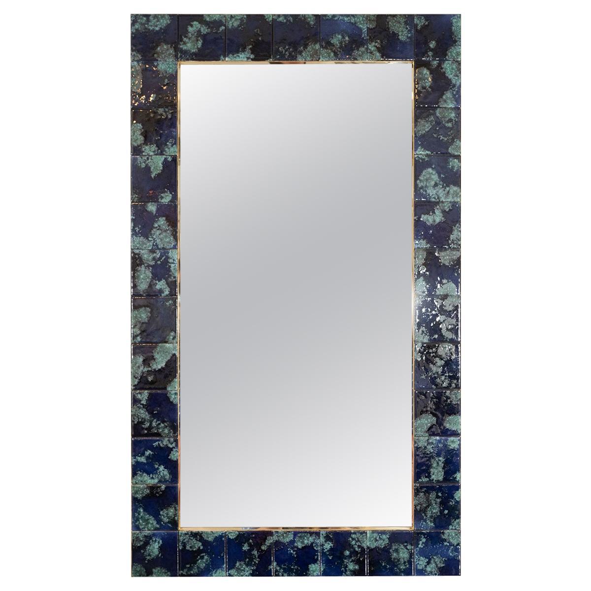 Mottled Blue Ceramic Tile Mirror