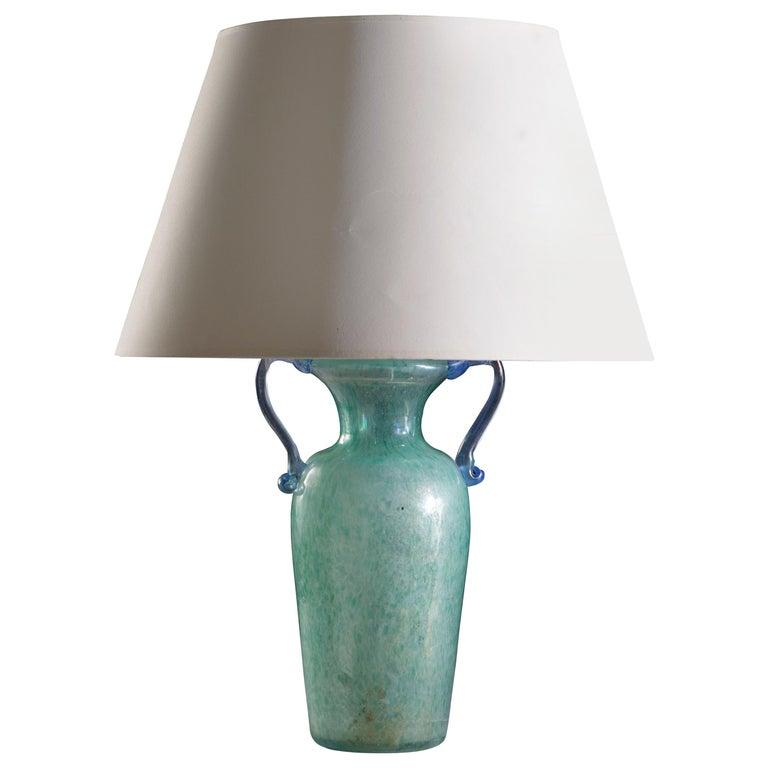 Mottled Light Blue Murano Glass Vase as a Table Lamp