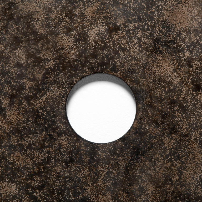 Chinese Mottled Stone Bi Disc on Wall Mount For Sale