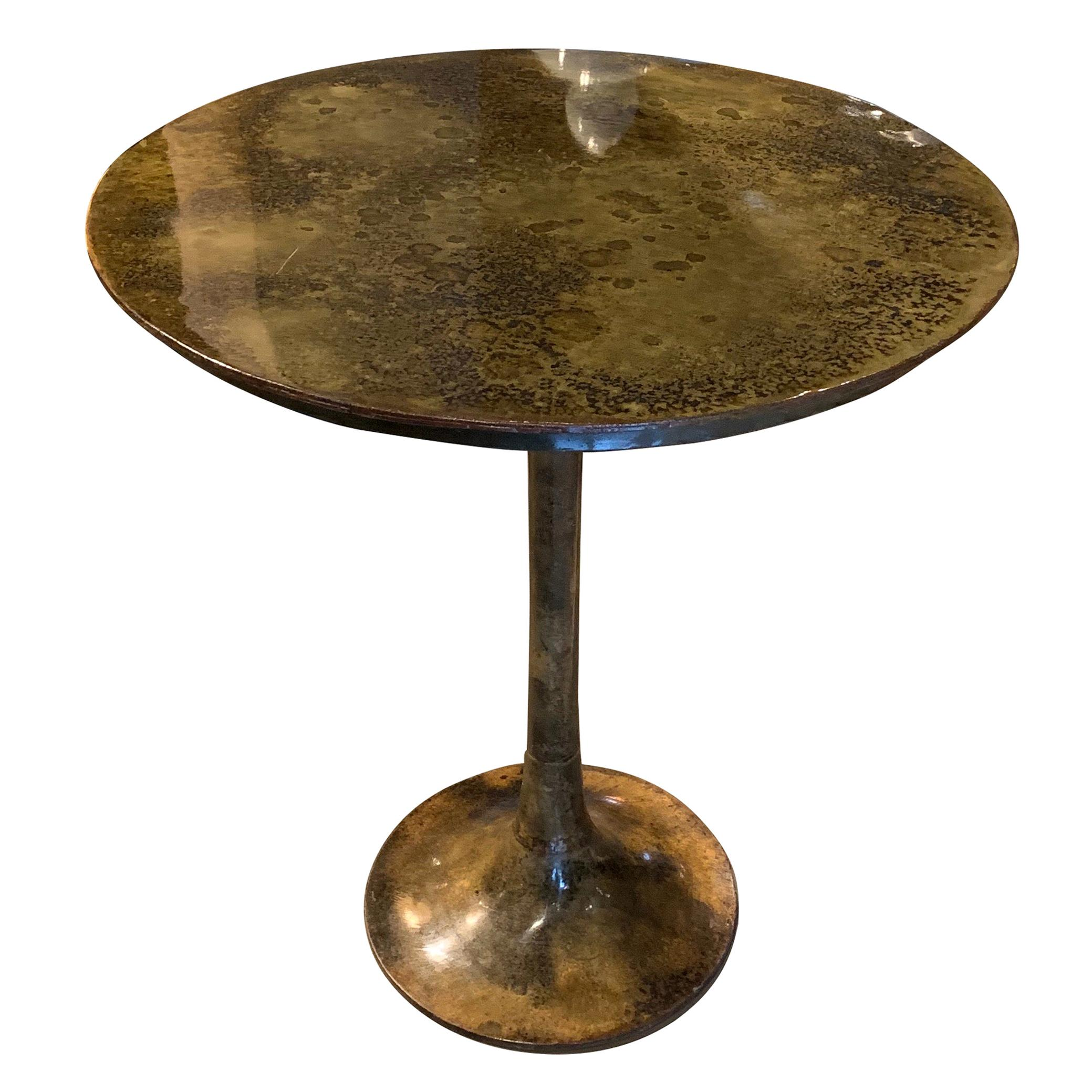 Bronze Mottled Pedestal Base Side Table, India, Contemporary