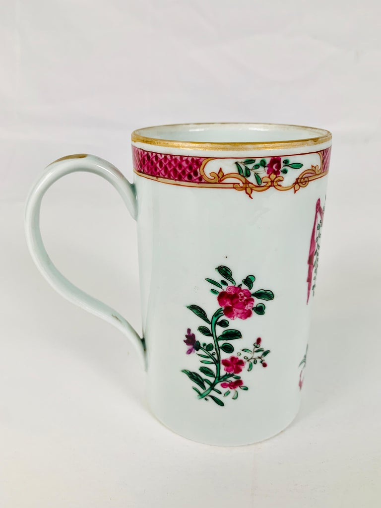 Hand-Painted Motto God Save the King Hand Painted on an 18th Century Chinese Porcelain Mug For Sale