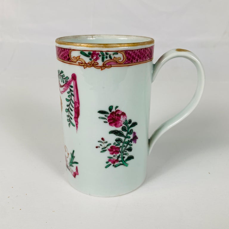 Motto God Save the King Hand Painted on an 18th Century Chinese Porcelain Mug In Excellent Condition For Sale In Katonah, NY