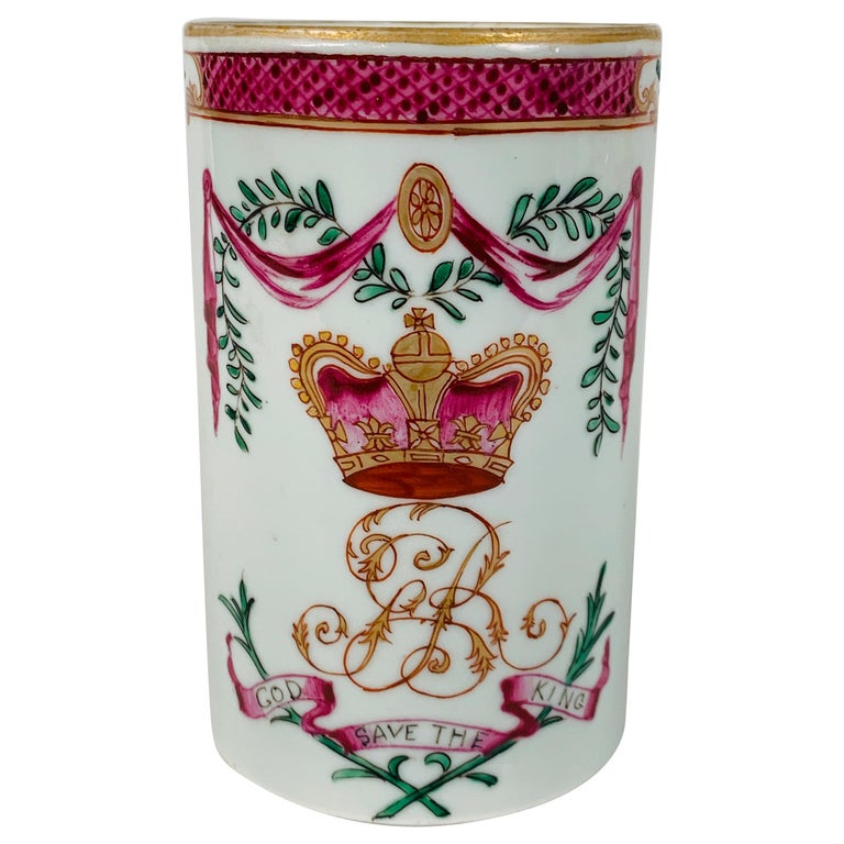 Motto God Save the King Hand Painted on an 18th Century Chinese Porcelain Mug For Sale