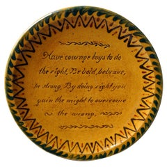 Motto Slipware & Spongework Decorated Plate; 'Have Courage Boys To Do The Right'