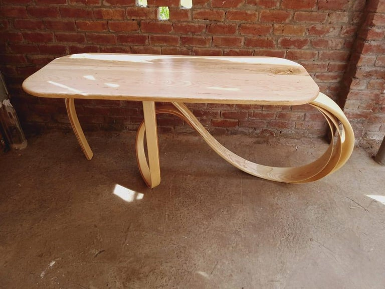 Contemporary Motus Console Table By Raka Studio - Bent Wood For Sale