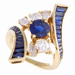 Mouawad Diamond and Sapphire Yellow Gold Ring