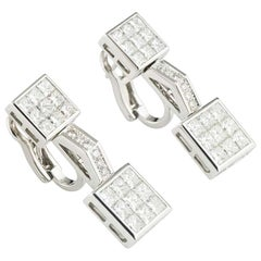 Mouawad Princess Cut Diamond Drop Earrings 4.20 Carat