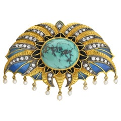 Moucheron Style Art Deco Plique-a-Jour, Turquoise, Diamond and Pearl Pin