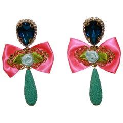 Mouchkine Rose Bow Drop Earrings