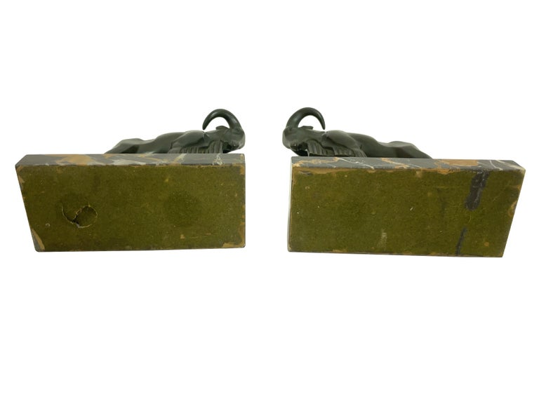 Patinated Mouflon Original Art Deco Bookends of Two Aries by Max Le Verrier with Patina For Sale