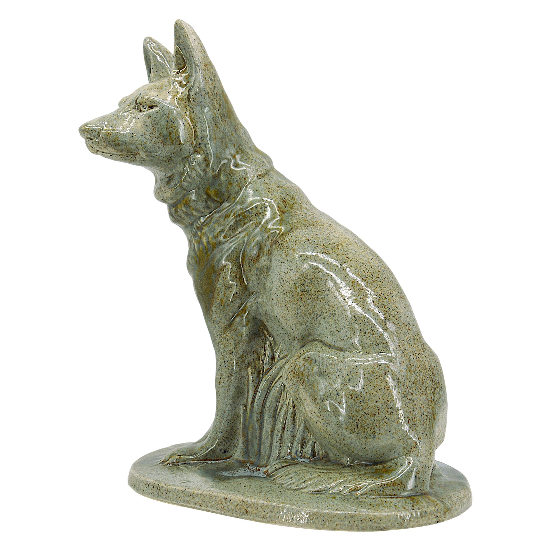 Moulin-des-Loups, Orchies, French Art Deco Ceramic German Shepherd, 1930s
