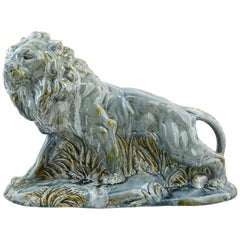 Moulin-des-Loups, Orchies, French Art Deco Ceramic Lion Statue, 1930s