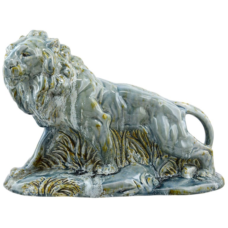 Moulin-des-Loups, Orchies, French Art Deco Ceramic Lion Statue, 1930s For Sale