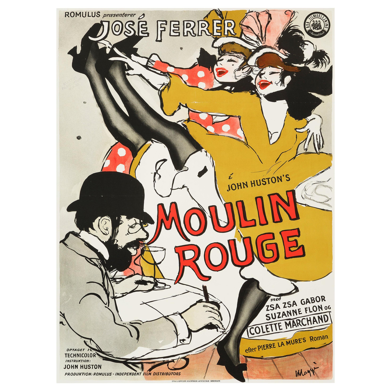 """""""Moulin Rouge"""" Original Vintage Danish Movie Poster by Maggi Baaring, 1955"""