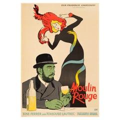 'Moulin Rouge' Original Vintage Movie Poster by Lucjan Jagodzinski, Polish, 1957