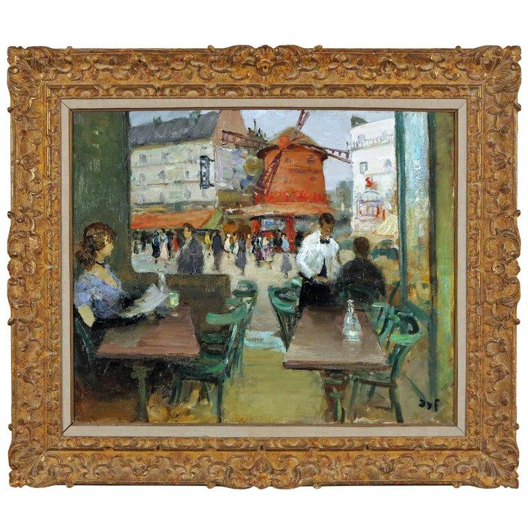 French Moulin Rouge Painting by Marcel Dyf For Sale