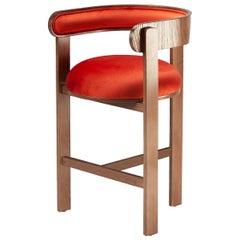 Belle Epoque bent wood Moulin Paprika Velvet Upholstered Bar Chair
