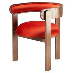 Round shape Bent Wood Moulin Velvet Upholstered Chair