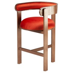 Belle Epoque bent wood Moulin Paprika Velvet Upholstered Counter Chair