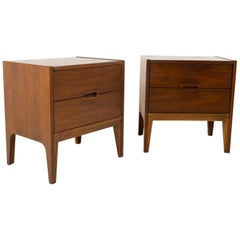 Mount Airy Janus Style United Midcentury Walnut Nightstands, Pair