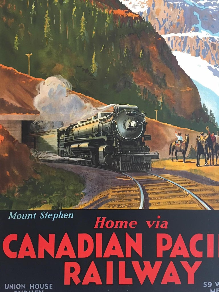 Mount Stephen Canadian Pacific Railway, by Trompf, 1930s   Artist: Percy Trompf  Rare poster 110 x 75 cm  Percival Albert (Percy) Trompf (1902-1964), was a commercial artist born on 30 May 1902 at Beaufort, Victoria, Australia. His posters