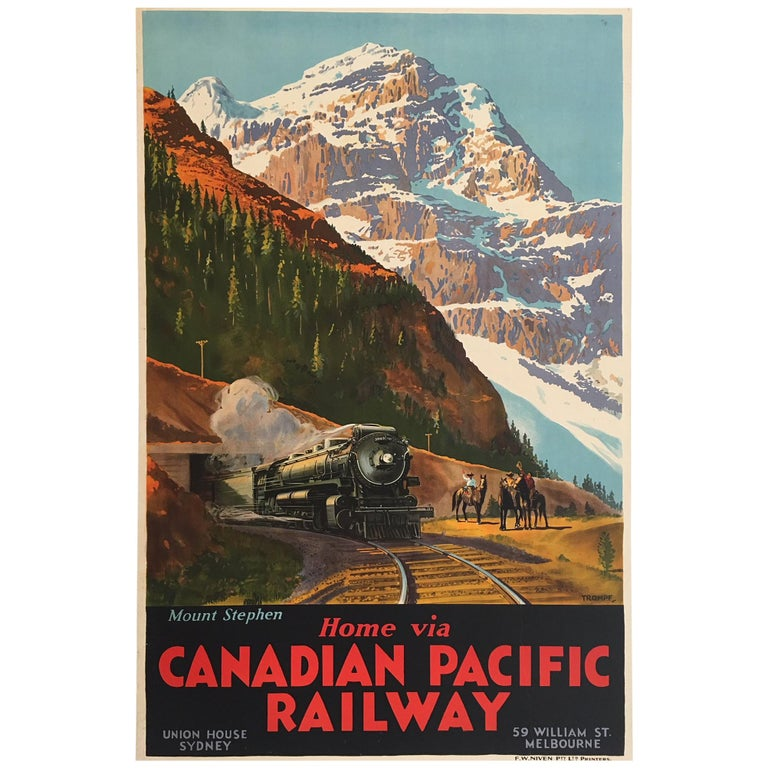 """""""Mount Stephen Canadian Pacific Railway,"""" Original Vintage Poster by Trompf"""