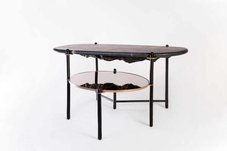 Mountain coffee table by Comité de Proyectos Dimensions: large: 120 x 100 x H 46 cm   small: 80 × 68.5 × H 40 cm Materials: Polished marble top, mirror, machined and electro-painted cold roll bars  The table has a polished marble top, and