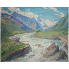 Mountain Creek Painting Oil on Canvas Alps Landscape, 1924