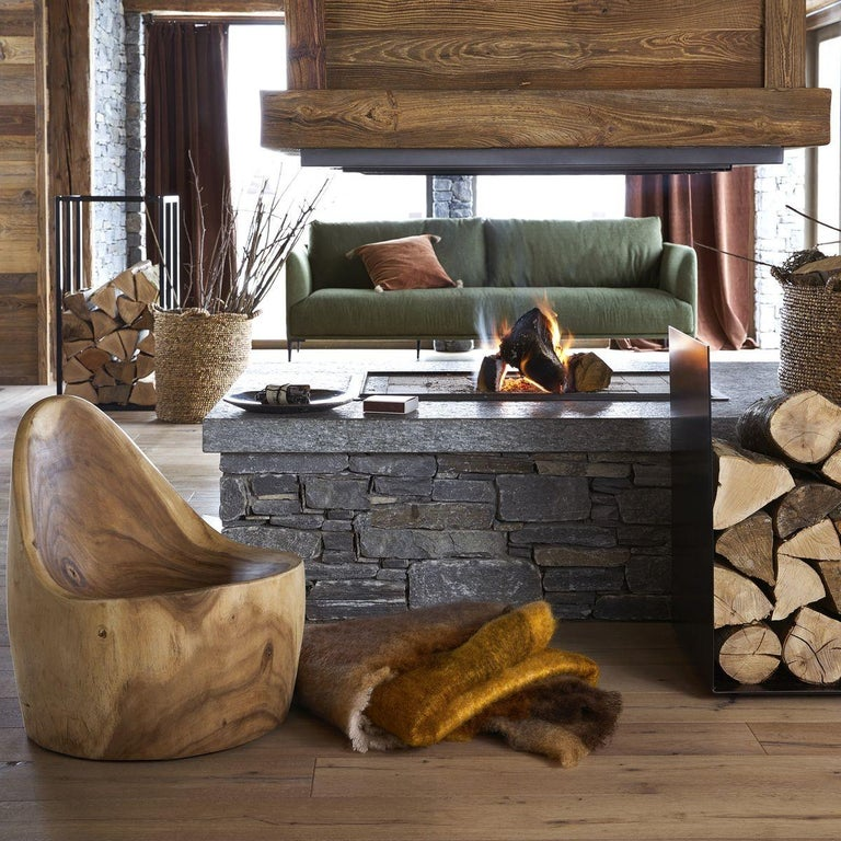 Mountain Forest Contemporary Armchair Made with a Single Section of Solid Wood For Sale 1